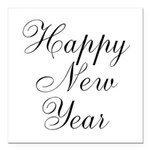 Happy New Year Black Script Square Car Magnet 3
