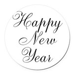 Happy New Year Black Script Round Car Magnet