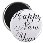 Happy New Year Black Script Magnets