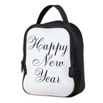Happy New Year Black Script Neoprene Lunch Bag