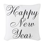 Happy New Year Black Script Woven Throw Pillow