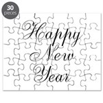 Happy New Year Black Script Puzzle