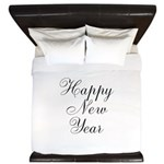Happy New Year Black Script King Duvet