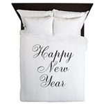 Happy New Year Black Script Queen Duvet