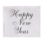 Happy New Year Black Script Throw Blanket