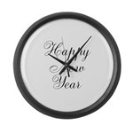 Happy New Year Black Script Large Wall Clock