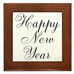 Happy New Year Black Script Framed Tile