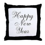 Happy New Year Black Script Throw Pillow