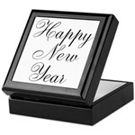 Happy New Year Black Script Keepsake Box