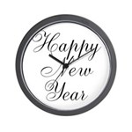 Happy New Year Black Script Wall Clock