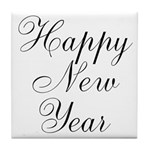 Happy New Year Black Script Tile Coaster