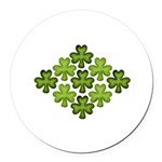 Shamrock Clover Green Round Car Magnet