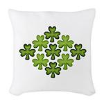 Shamrock Clover Green Woven Throw Pillow