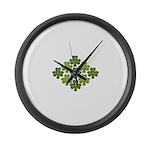 Shamrock Clover Green Large Wall Clock