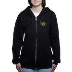 Shamrock Clover Green Women's Zip Hoodie