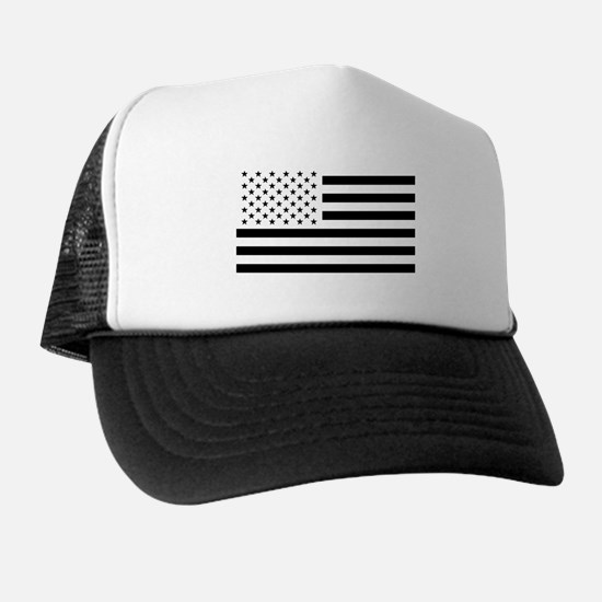 Black and White USA Flag Trucker Hat