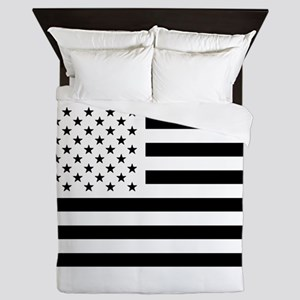 Black and White USA Flag Queen Duvet