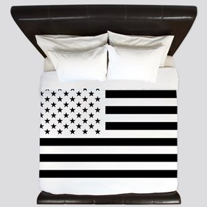 Black and White USA Flag King Duvet