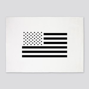 Black and White USA Flag 5'x7'Area Rug