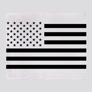 Black and White USA Flag Throw Blanket