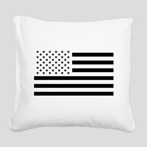 Black and White USA Flag Square Canvas Pillow