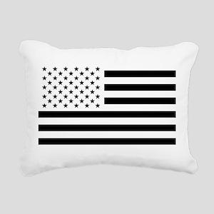 Black and White USA Flag Rectangular Canvas Pillow