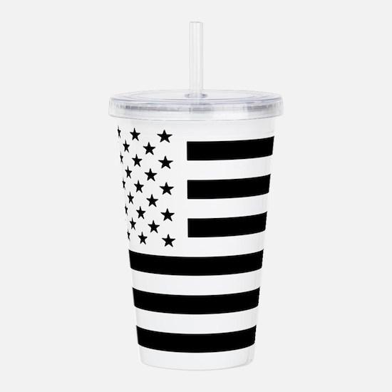 Black and White USA Fl Acrylic Double-wall Tumbler