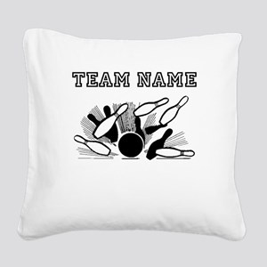 Strike Bowling Team Square Canvas Pillow