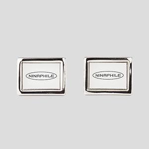 Ninaphile White Oval Rectangular Cufflinks