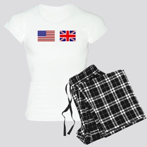 USA UK Flags for White Stu Women's Light Pajamas