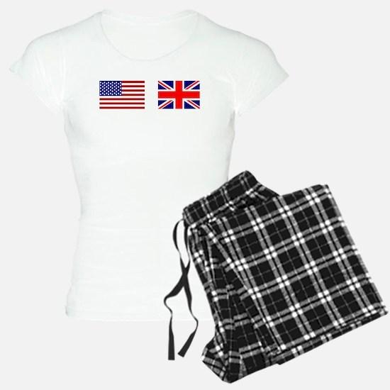 USA UK Flags for White Stu Pajamas