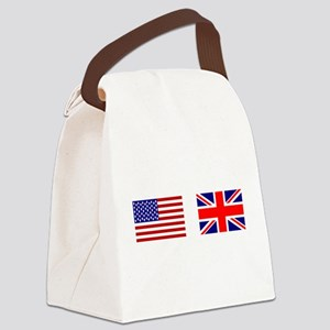 USA UK Flags for White Stuff Canvas Lunch Bag