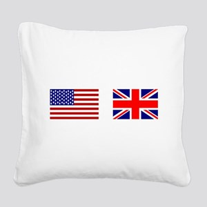 USA UK Flags for White Stuff Square Canvas Pillow