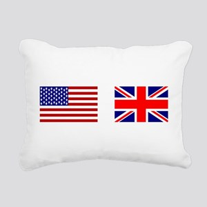 USA UK Flags for White Rectangular Canvas Pillow