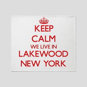Keep calm we live in Lakewood New Yo Throw Blanket