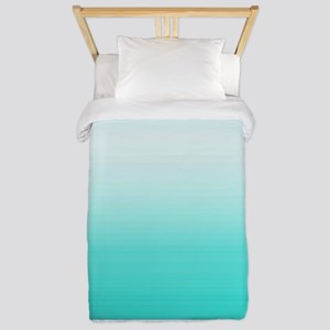 Elegant Turquoise Ombre Pattern Twin Duvet
