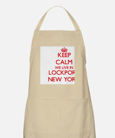 Keep calm we live in Lockport New York Apron