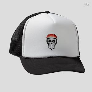 Halloween Biker Skull Kids Trucker hat