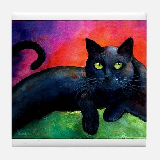 Black cat 8 Tile Coaster 4.25