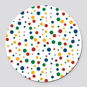 Retro Clowny Dots Round Car Magnet