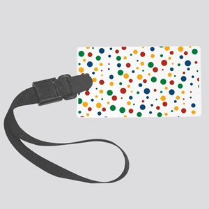 Retro Clowny Dots Large Luggage Tag
