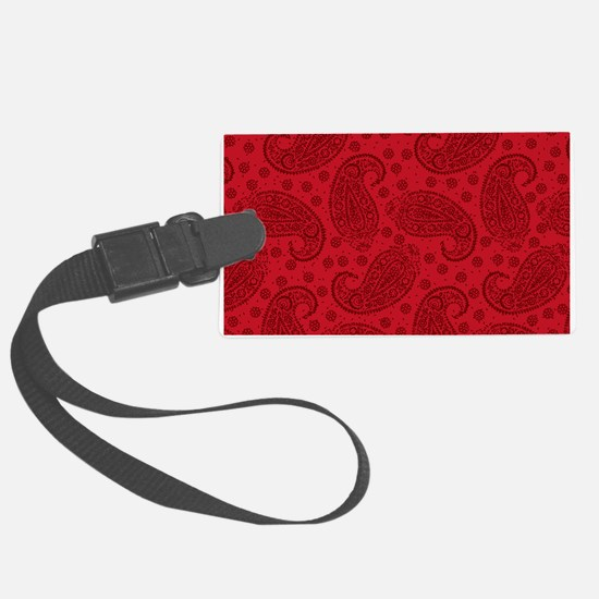 Red Paisley Pattern Luggage Tag
