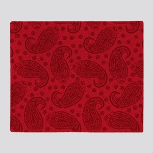 Red Paisley Pattern Throw Blanket