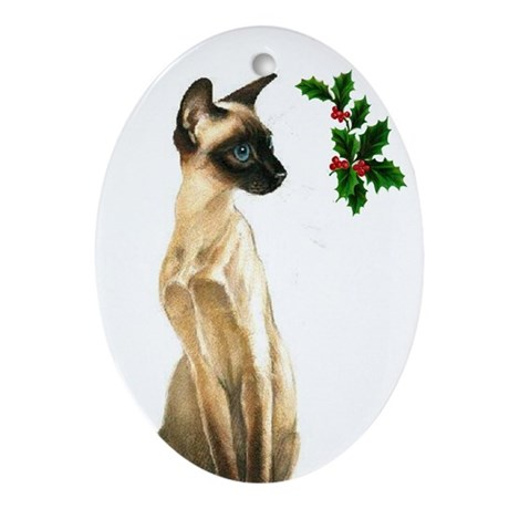 Siamese Beauty Cat Oval Ornament