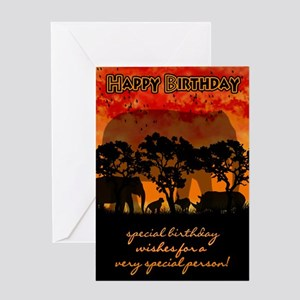 Elephant Silhouette Birthday Card Greeting Cards