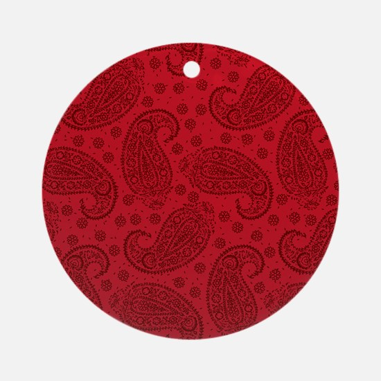 Red Paisley Pattern Ornament (Round)