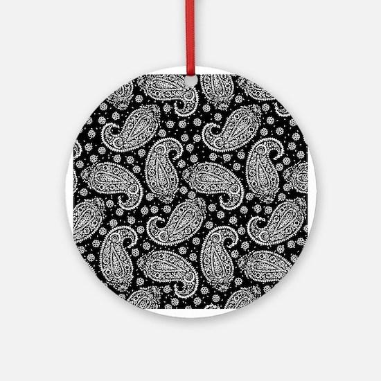 Black Paisley Pattern Ornament (Round)