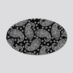 Black Paisley Pattern 20x12 Oval Wall Decal