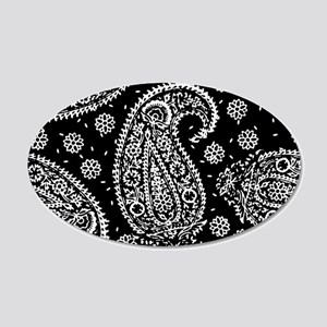Black Paisley 20x12 Oval Wall Decal