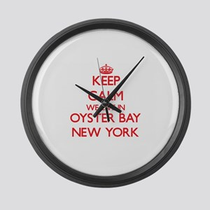 Keep calm we live in Oyster Bay N Large Wall Clock